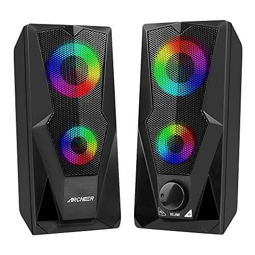 ARCHEER PC Lautsprecher USB Gaming Computer Lautsprecher Boxen mit RGB...