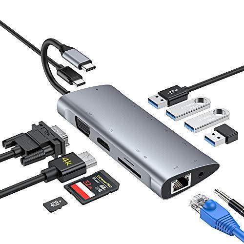 USB C Hub,11-in-1-Adapter Typ C mit 4K-HDMI, 1080P-VGA, USB...