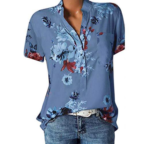 Lulupi Damen Bluse Kurzarm V-Ausschnitt Hemdbluse Sommer Shirt Blumen...
