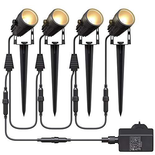 Aogled Gartenbeleuchtung LED,4x3W COB im Freien IP65 Wasserdichter...