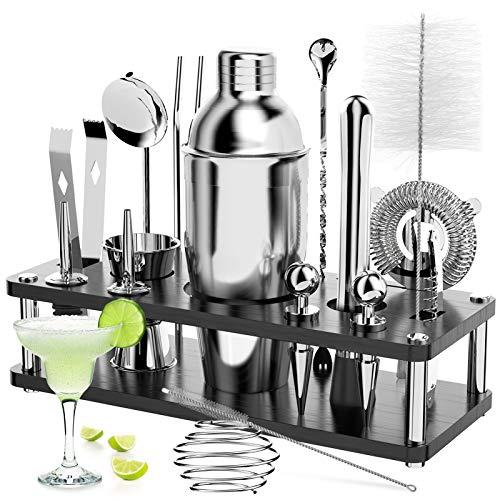 Cocktail Set, 18 Stück Edelstahl Cocktail Zubehör Mix Set,...