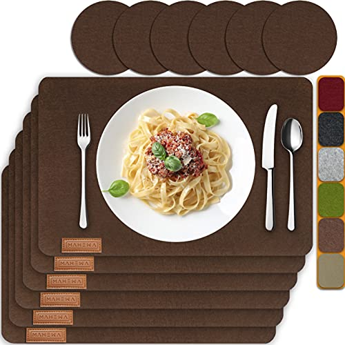 MAHEWA 6er Set Premium Tischset Platzset aus Filz rutschfest...