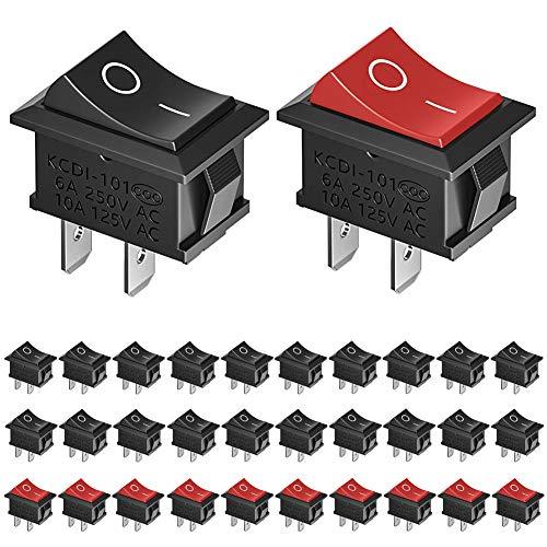 KeeYees 30 Stücke Druckschalter AC 6A / 250V 10A / 125V, 20 Stück...