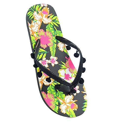 Damen-Flip-Flops mit Blumendruck., Schwarz - Schwarzes POMPOM -...