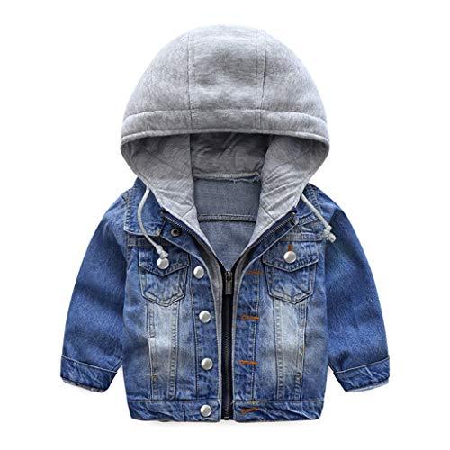 Jungen Jeansjacke Kinder Jeans Jacke Mantel Kapuze Langarm Blau Denim...
