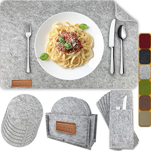 MAHEWA® 6er Set Premium Tischset Platzset aus Filz rutschfest...