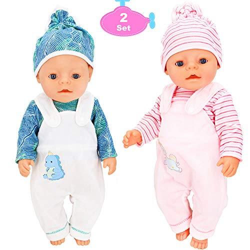 Toploar 2 Set Puppenkleidung Zubehör, Babypuppen Kleidung Outfits,...