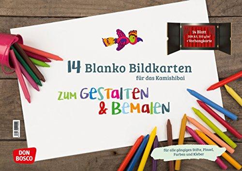 14 Blanko Bildkarten zum Gestalten & Bemalen für das Kamishibai: DIN...