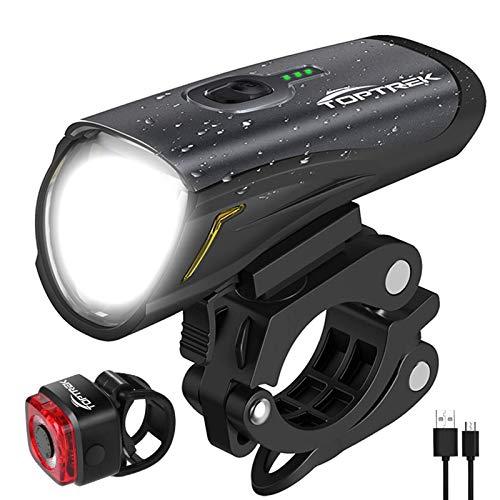 toptrek Fahrradlicht Set, LED Fahrradbeleuchtung Set akku USB...