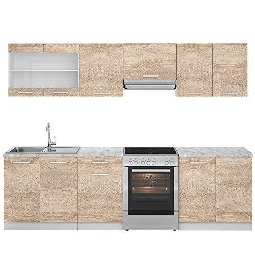 Vicco Küche Raul Küchenzeile Küchenblock Einbauküche 270 cm Sonoma...