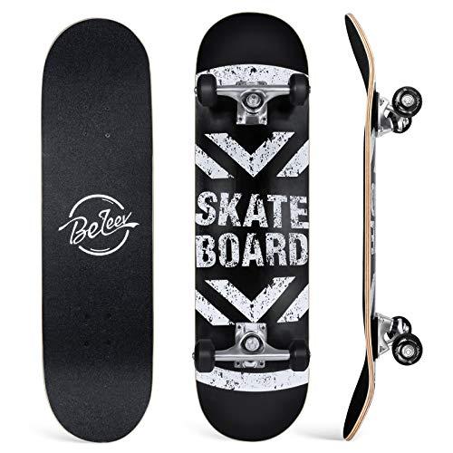 BELEEV Skateboard 31x8 Zoll Komplette Cruiser Skateboard für Kinder...