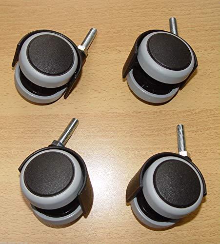 4 x Möbelrolle 50mm Hartbodenrolle Gummi Gewinde M8x30mm