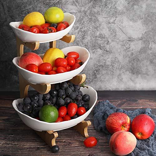 Obst Etagere Keramik 3 Stöckig Porzellan Obstteller 3 Etagen...