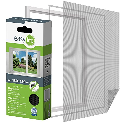 easy life Insektenschutzgitter für Fenster inkl. Klettband 130 x 150...