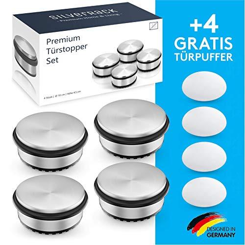 SilverRack® Türstopper Edelstahl [4 Stück] + 4 extra Wand...