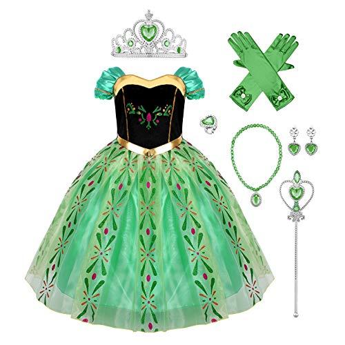 IMEKIS Mädchen Prinzessin Anna Kleid Schneekönigin Krönung Kostüm...