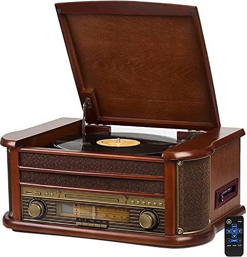 Nostalgie Holz Musikanlage | Bluetooth | Kassettendeck | Kompaktanlage...