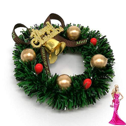 Rocita 6 cm Mini Weihnachtskranz Miniatur Kranz Puppenhaus Garten...