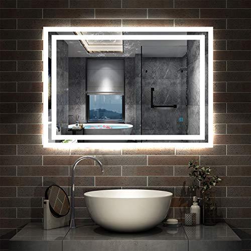 AicaSanitär LED Spiegel Bad 80×60cm Badspiegel mit Beleuchtung...