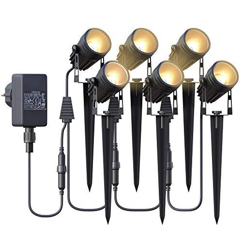 Gartenbeleuchtung,Azhien Gartenstrahler LED mit Erdspieß,6x3W 1800Lm...
