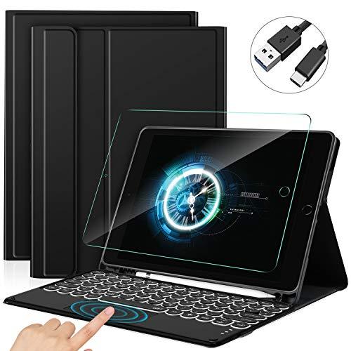 Sross Tastatur für iPad 10.2, QWERTZ Beleuchtete Tastatur Hülle für...