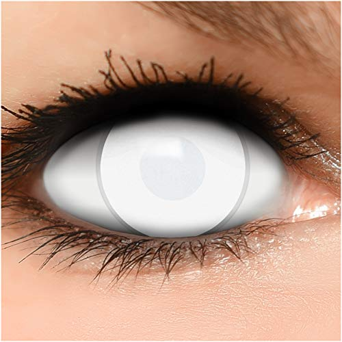 Farbige Kontaktlinsen Dead Zombie in komplett weiß 60% Sehvermögen +...
