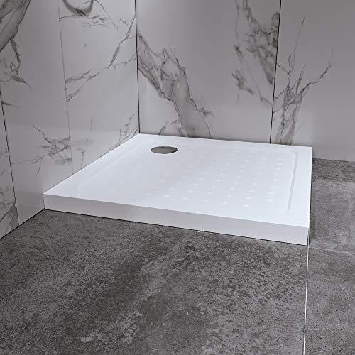 Duschwanne Duschtasse 80x80 cm Quadratisch Acryl inkl. Ablaufgarnitur...