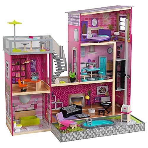 KidKraft 65833 Uptown Puppenhaus aus Holz mit Möbeln und Zubehör,...