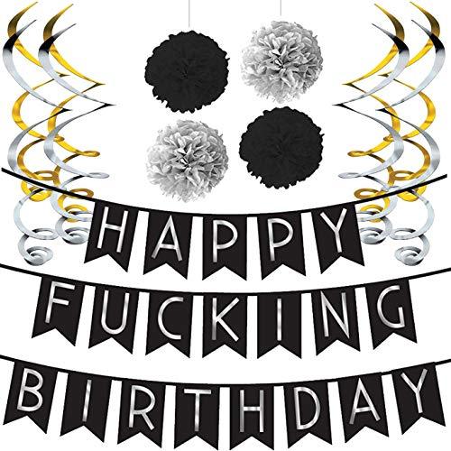Witzige Happy Birthday Girlande – Schwarz & Gold lustige Deko...