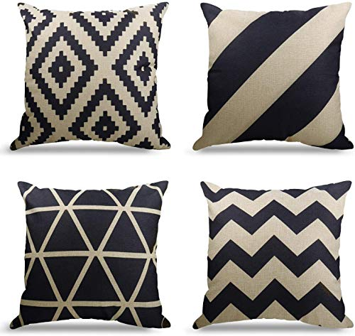 4er Set Dekorativ Kissenbezug Geometrische Muster, Sofa Büro Dekor...