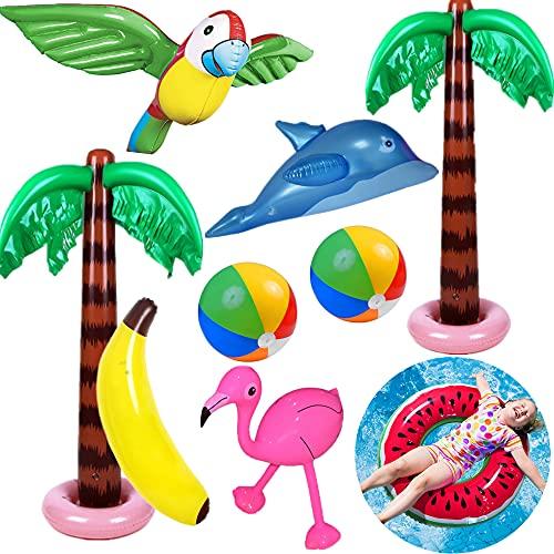 Yetech Aufblasbare Palmen Baum Strand Spielzeug Set, 9PCS Aufblasbare...