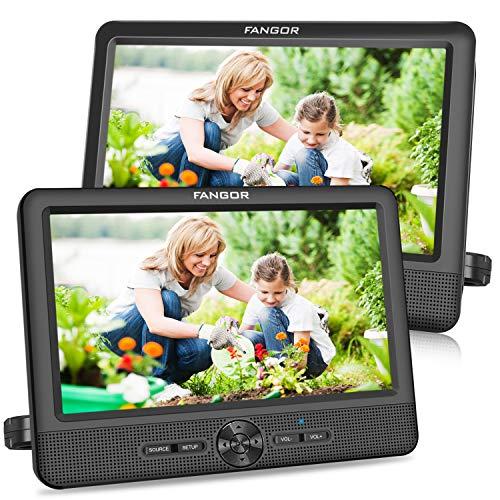 FANGOR 9,5 Zoll Auto DVD Player tragbare 2 Monitore Kopfstützen...