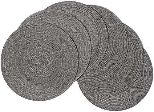 SHACOS Baumwolle Platzsets Set von 6,Tischsets Rund Abwaschbar...