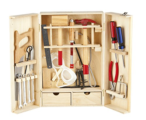 Leomark Deluxe Werkzeug für Kinder - 30-TLG - Holz Werkzeugkasten,...
