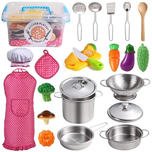 Juboury Küchenspielzeug Zubehör Kinderküche Kochgeschirr Edelstahl...