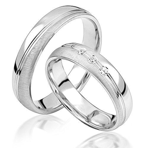 JC Trauringe 925er Sterling Silber Paar-Preis I Eheringe mit...