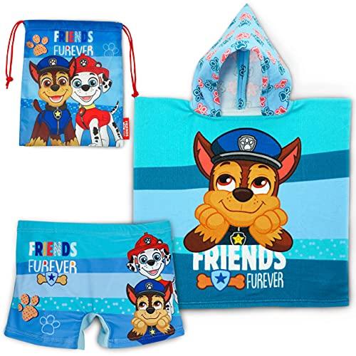 Badehose, Badeponcho Kinder und Turnbeutel Kinder Paw Patrol - Paket...