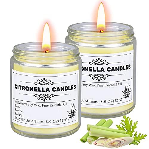 Citronella Kerze outdoor, 2 Stück Kerzen im Glas Großen, Duftkerze...