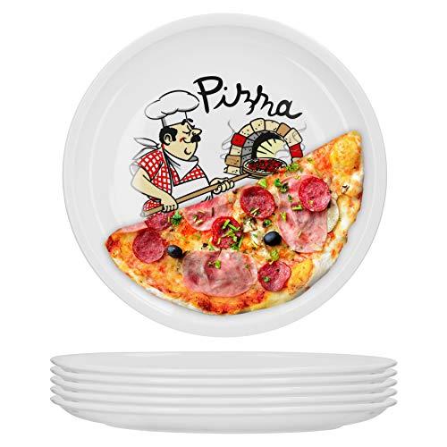 Van Well 6er Set Pizzateller groß Ø 29.5 cm mit Küchenchef-Motiv...