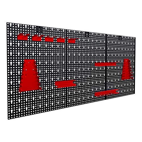 Werkzeuglochwand aus Metall mit 17tlg. Hakenset, ca. 120 x 60 x 1,5...