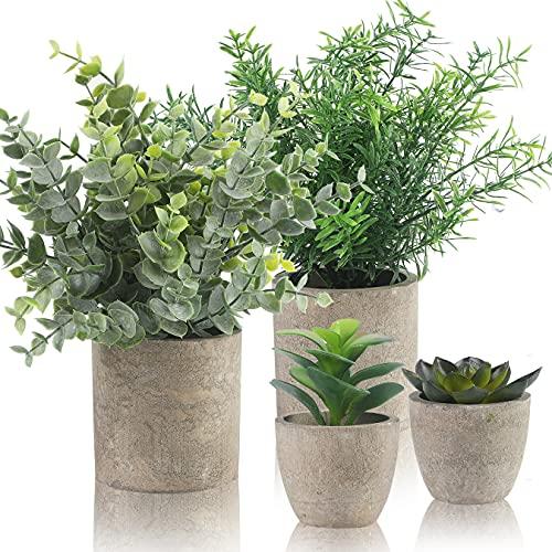 Alagirls 4 Stück Künstliche Pflanzen, Mini Kunstpflanzen Eukalyptus...