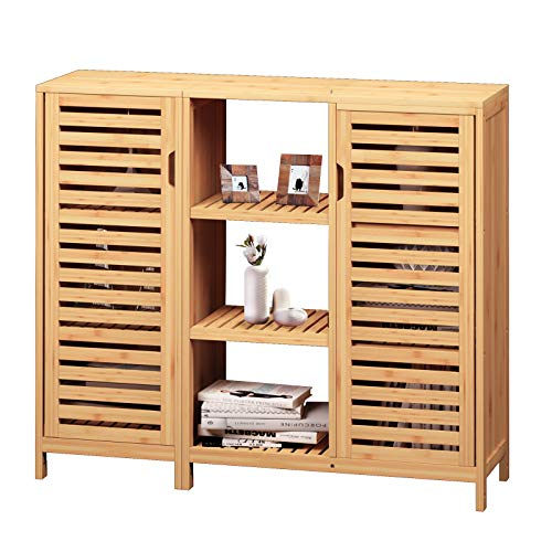 VIAGDO Kommode Sideboard, Bambus Beistellschrank, Küchenschrank,...