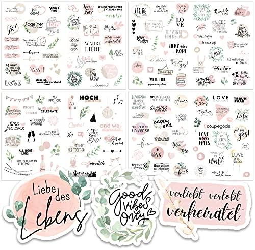 Sticker Hochzeit Gästebuch (4 Bögen) - Vintage Hochzeit Aufkleber...