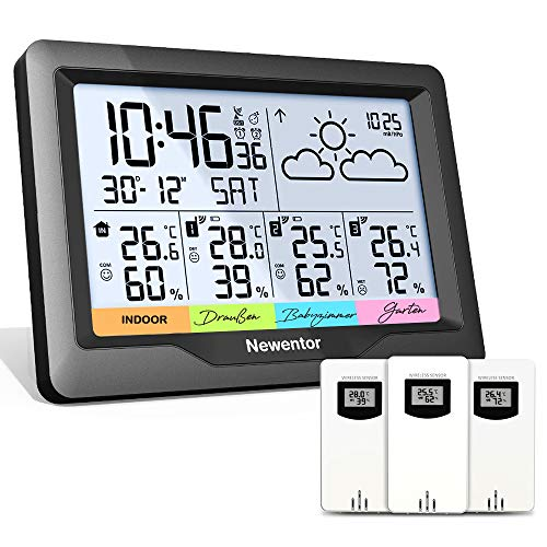 Newentor Wetterstation Funk mit 3 Außensensor Indoor Outdoor...