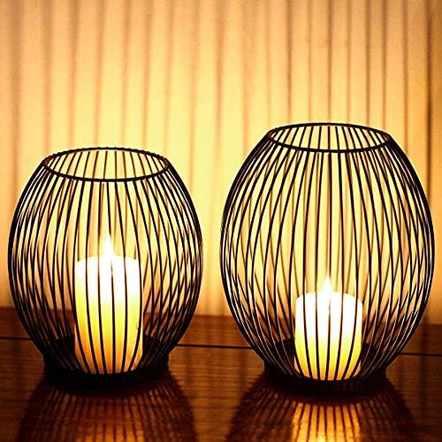 Kerzenständer, Oval Kerzenhalter 2er Set, Metall Laterne...