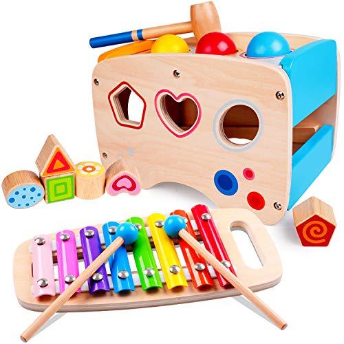 Rolimate Xylophon und Hammerspiel Spielzeug ab 1 Jahr, 3 in 1...