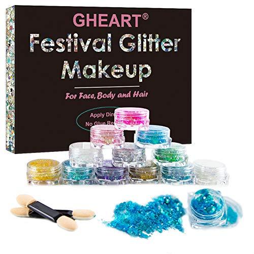Glitzer Make up für Gesicht, Körper und Haare – Chunky Festival...