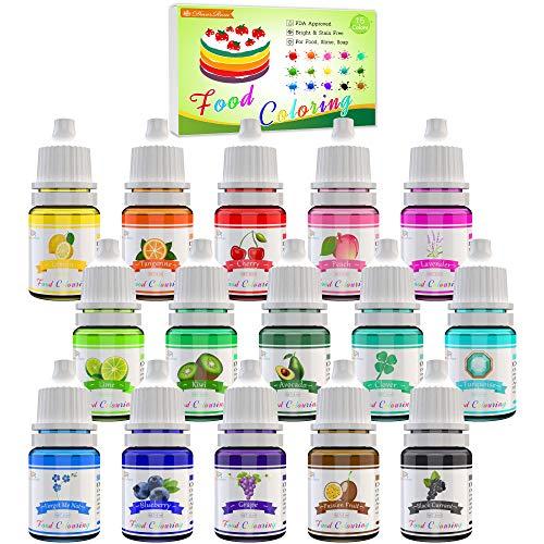 Lebensmittelfarbe - 15 Flüssige Lebensmittel Farben Set für Kuchen...