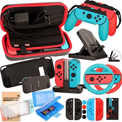 Nintendo Switch Zubehör Set - Tragetasche Hülle Displayschutzfolie...