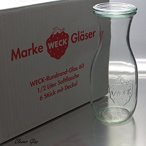 6 Weck Einkochgläser 1/2 Liter Saftflasche RR60 mit Auswahl Zubehör...